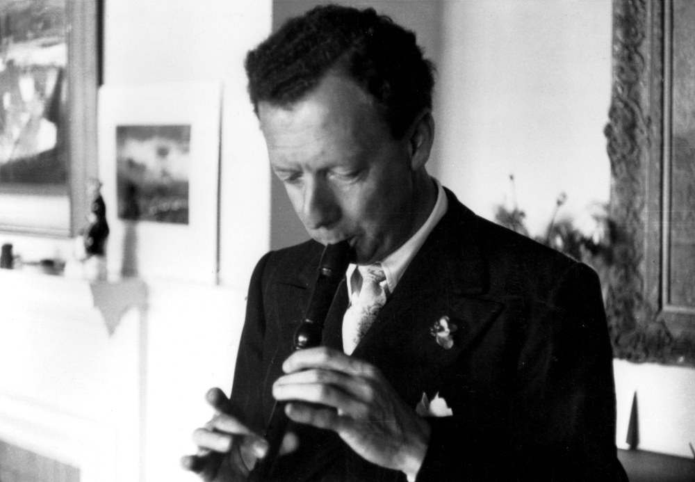 Britten Playing the Recorder in about 1955