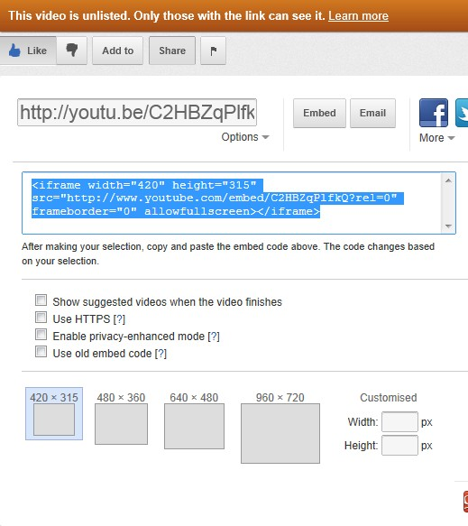 Embedding Screen on YouTube