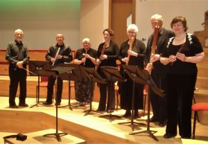 Peter and a group of Birmingham SRP players at the Dolmetsch Centenary Weekend at Birmingham Conservatoire.